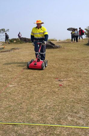 Undertaking the GPR component of the survey using our dual frequency Cobra Wireless GPR system manufactured by radarteam
