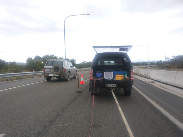 The Geode, computer and auxillary cables were set up in the back of a ute. The MASW array was towed behind the same vehicle.