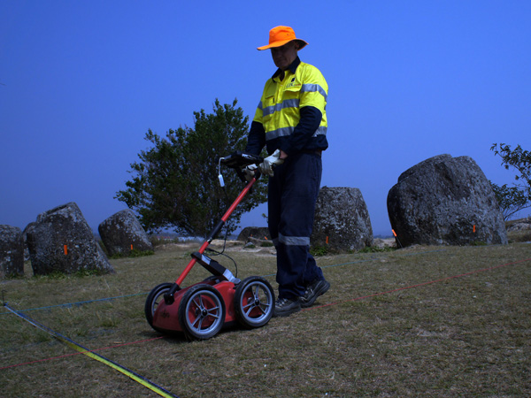 Undertaking the GPR component of the survey using our dual frequency Cobra Wireless GPR system manufactured by radarteam.