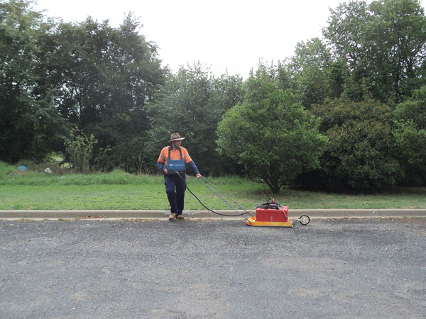 The GPR survey being performed using the 200MHz Antenna