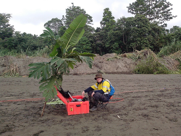 One of our Sydney based staff members getting some temporary shade while collecting 5m geophone spaced ReMi on a beach