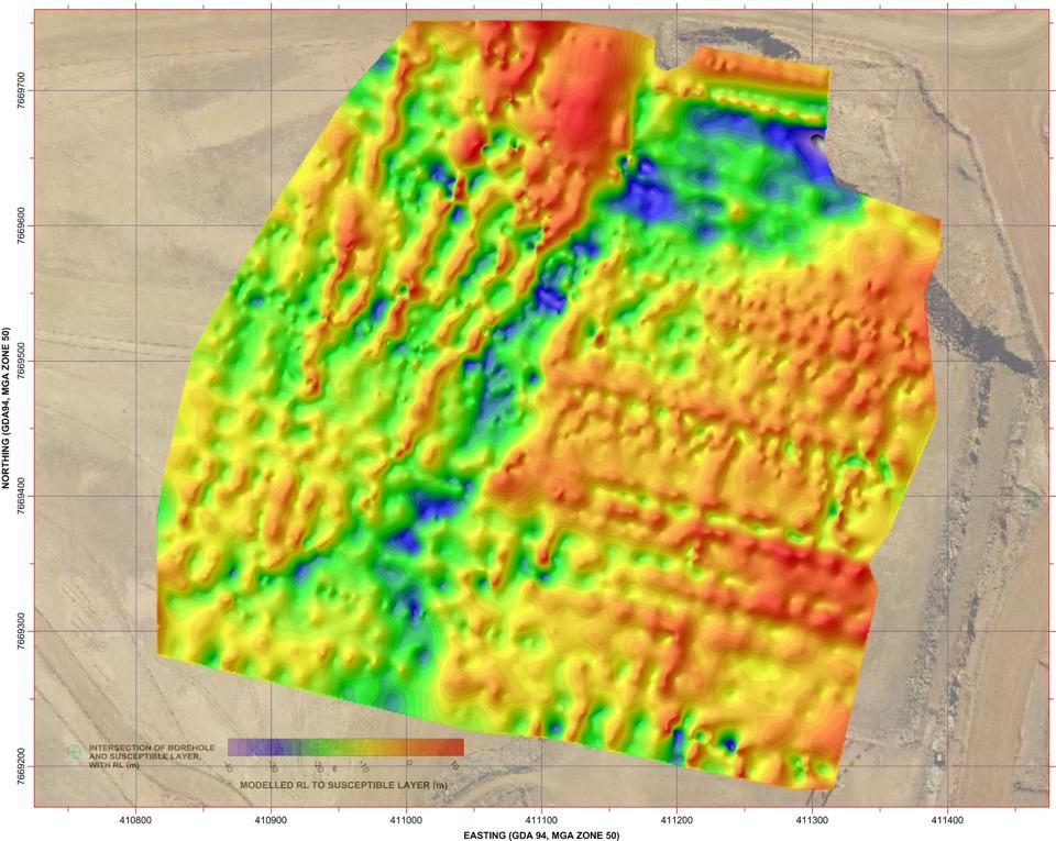 Total field magnetic map used to delineate an iron ore deposit
